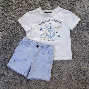 EUC Janie and Jack top and adjustable shorts 2T